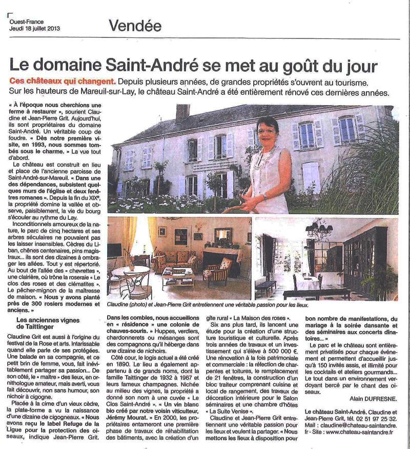 Article ouest-france juillet 2013